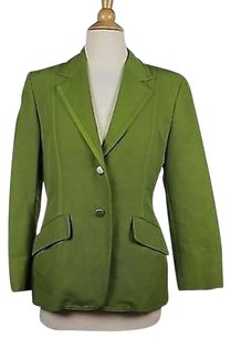 Max Mara Max Mara Womens Green Textured Blazer 34 Sleeve Cotton Blend