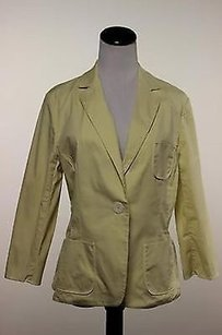 Max Studio Max Studio Womens Yellow Blazer Long Sleeve Cotton Jacket Career