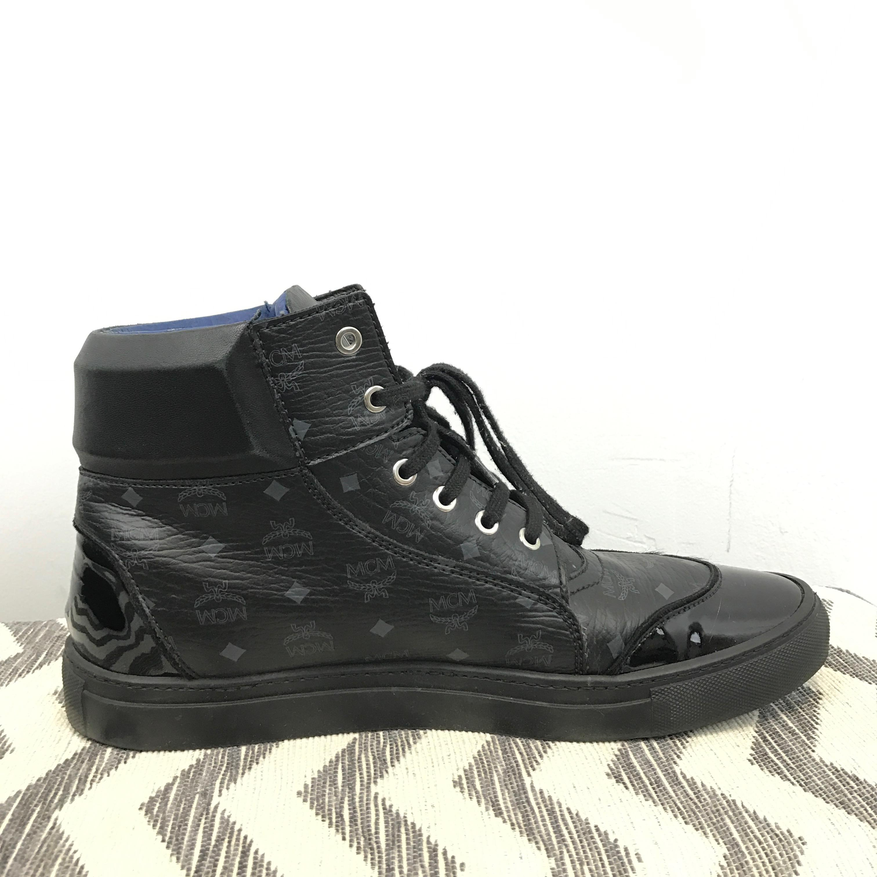 mcm black high top in italy sneakers size eu 45 approx