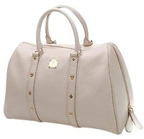 MCM Leather Boston Satchel in Ivory