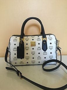 MCM Heritage Visetos Boston Satchel in White