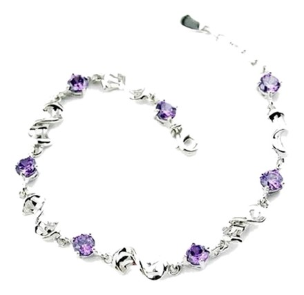 Meiligan Jewelry Purple cubic zirconia link chain bracelet crafted with sterling silver with lobster claw clasp.