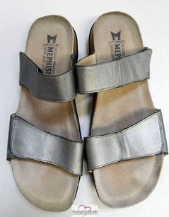 Mephisto Leather Pewter Sandals