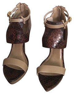 Michael Antonio Brown/Tan Snakeskin Platforms