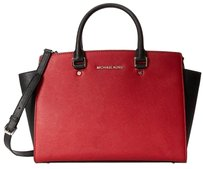 MICHAEL Michael Kors Colorblocked Large Satchel in Scarlet Red and Black