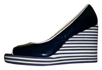 Michael by Michael Kors Patent Peep Toe Navy and White Wedges