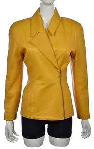 Michael Hoban Womens Leather 34 Casual Solid Coat Yellow Jacket