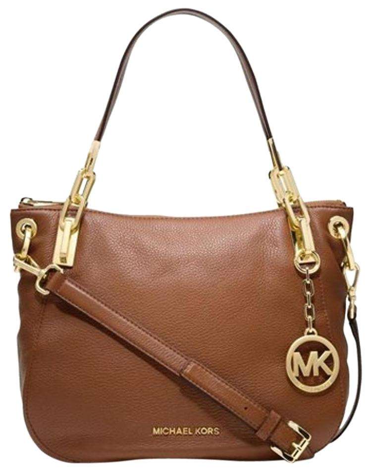 123070436cc4 ... new zealand michael kors leather top zip closure goldtone satchel in dk  dune 220fc 54bd5