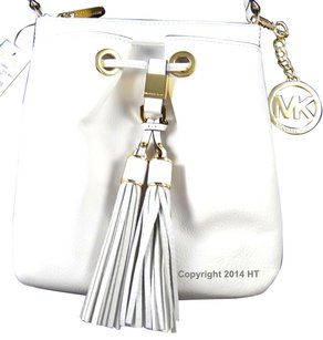 Michael Kors Camden Drawstring White Cross Body Bag