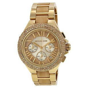 Michael Kors Camille Chronograph Champagne Dial Gold-tone Horn Acetate Ladies Watch
