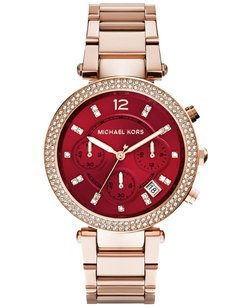 Michael Kors Chronograph Parker Rose Gold-tone Burgundy Dial Watch MK6106