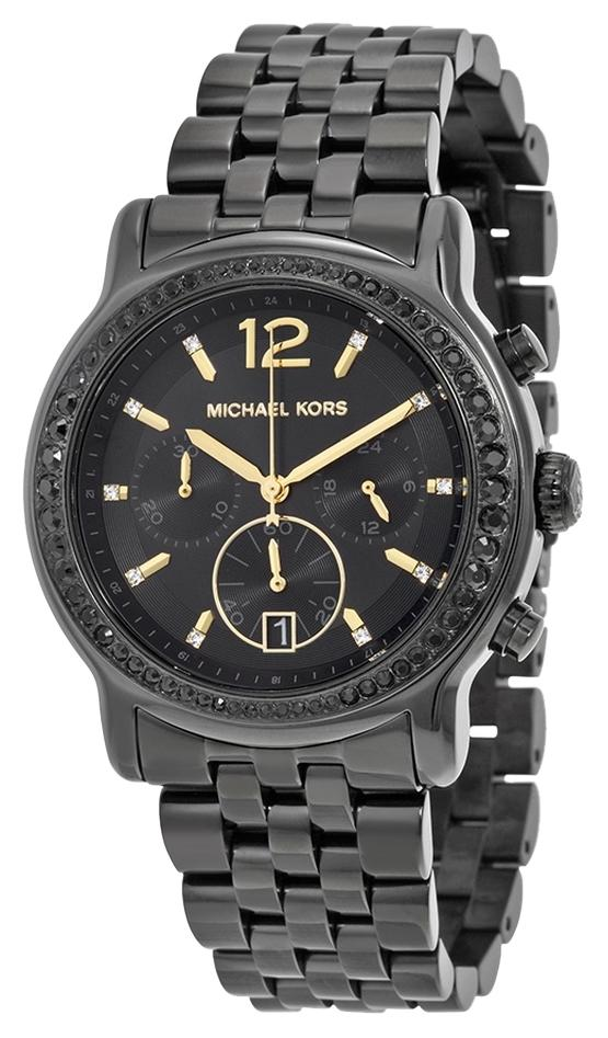 michael kors designer watches neqq  Michael Kors Crystal Pave Black Ion Plated Stainless Steel Designer Watch