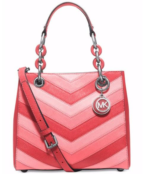 4df2935087e2 ... promo code for michael kors cynthia small chevron 30s3tcys2l coral pink  gold tone leather satchel tradesy