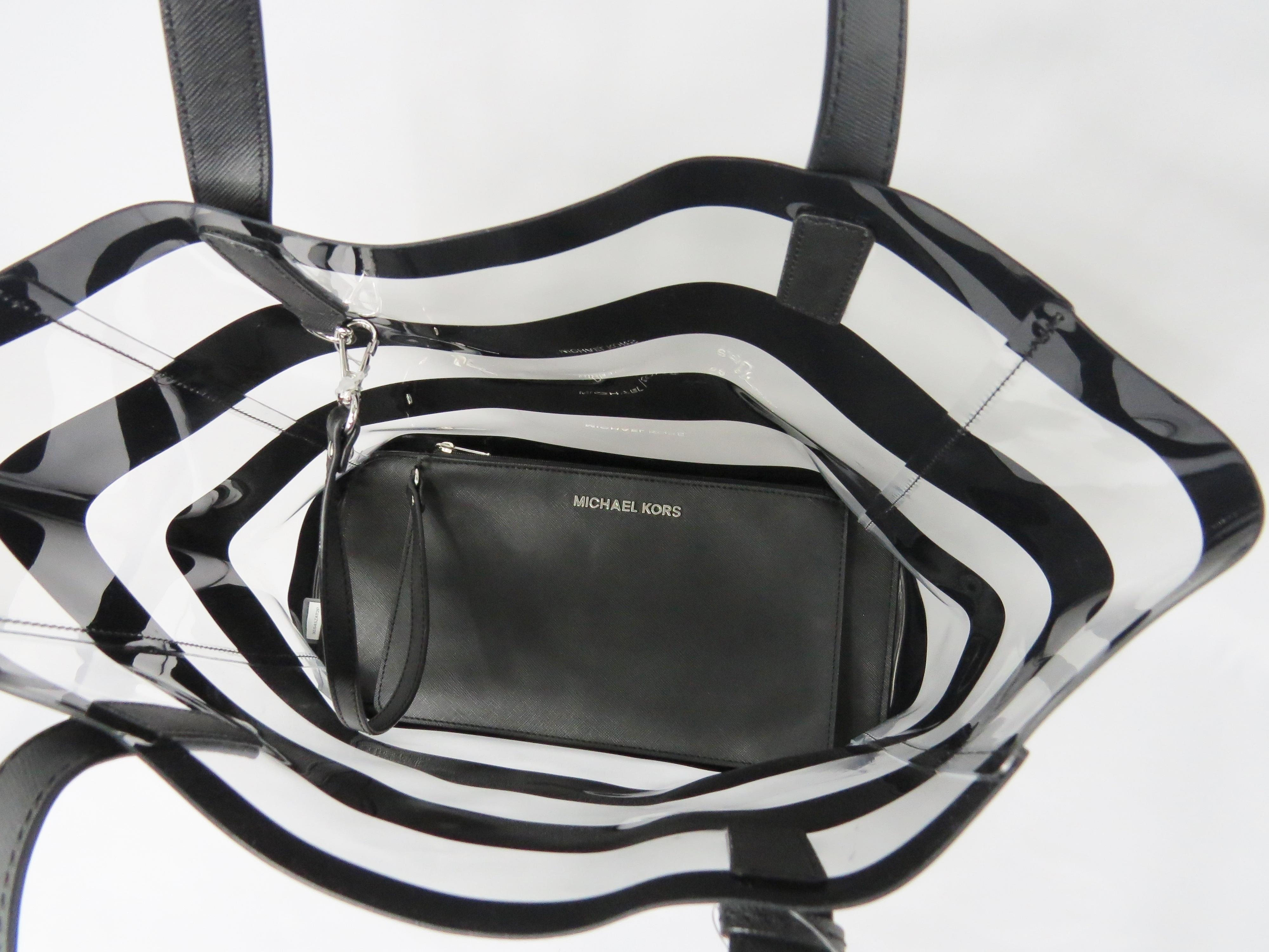 c0b5046a38ee8d ... free shipping cheap michael kors eliza medium plastic tote in clear and  black. 786c3 debe1