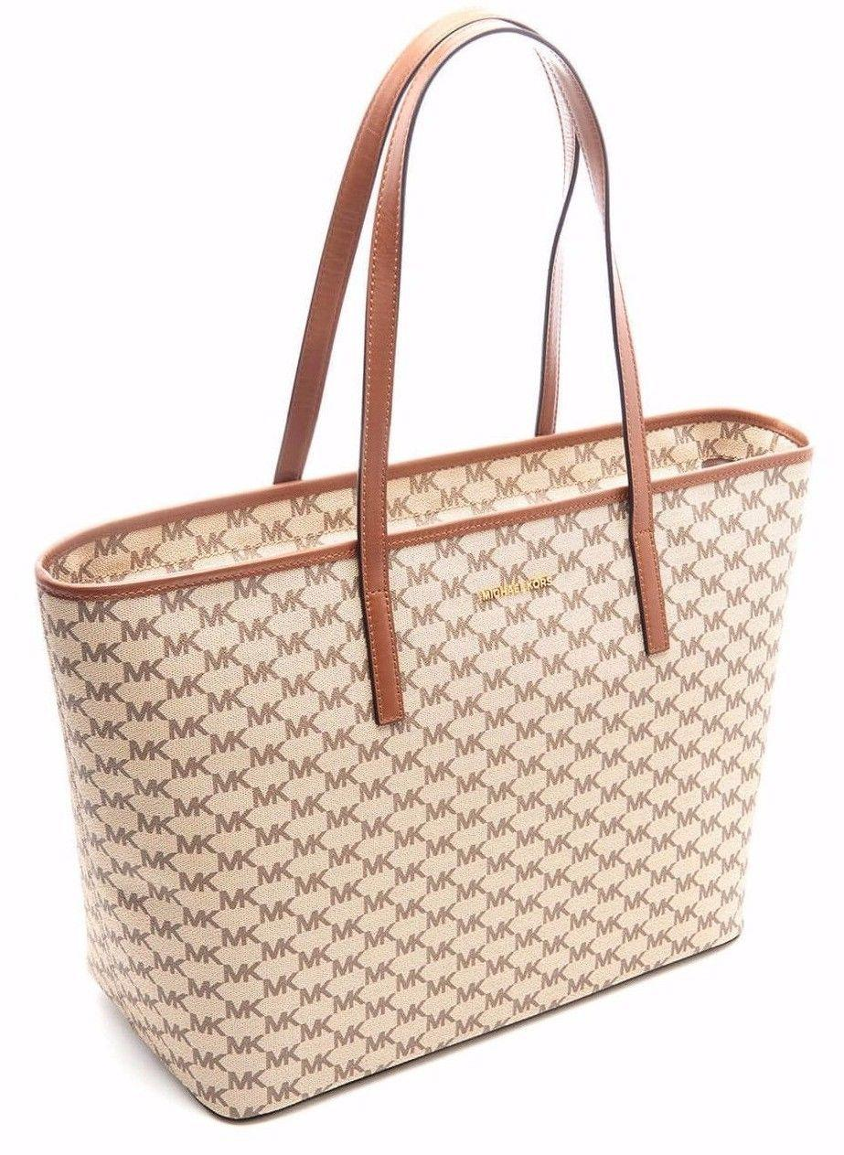 Michael Kors Signature Emry Coated Canvas Tote in NATURAL / LUGGAGE.  1234567891011