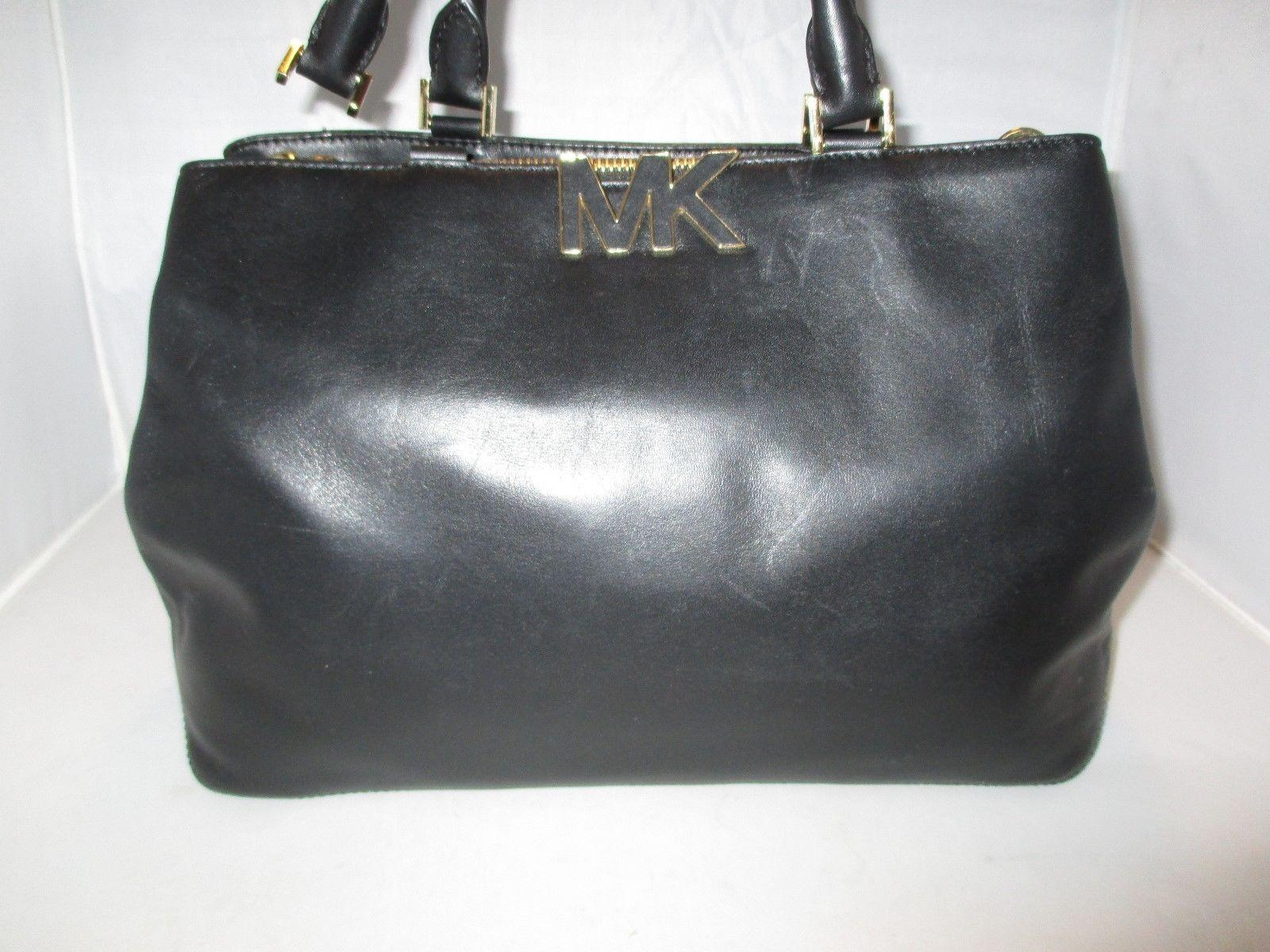 f66ad16b9e98 ... top quality michael kors florence large black leather satchel tradesy  d91fe 92a60