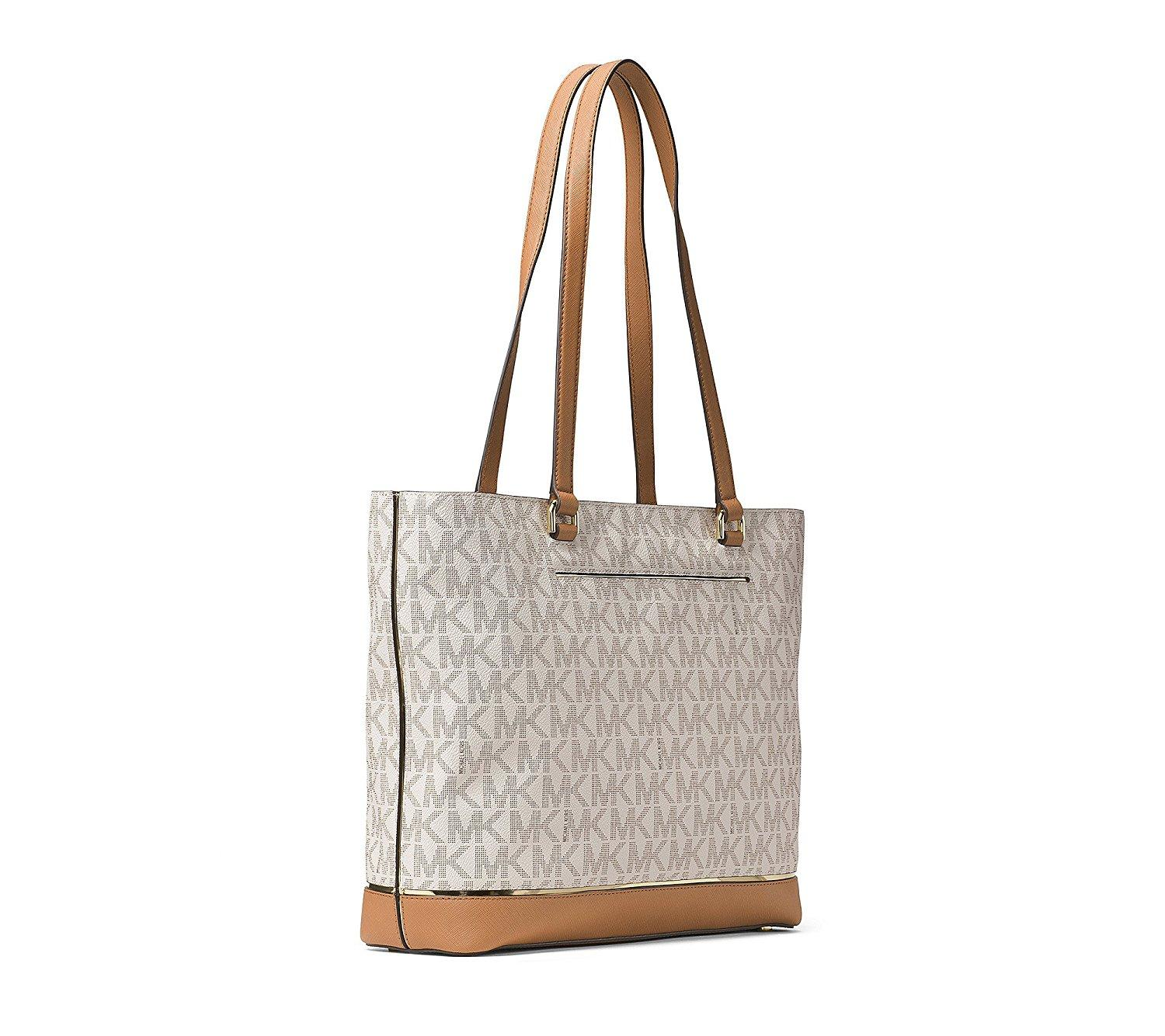 6e21b1d470a6 ... purse 07a68 cfb65; clearance michael kors frame out item large north  south signature tote in vanilla. 1234 7a79f