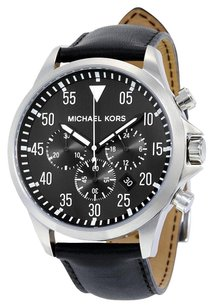 Michael Kors Gage Black Dial Black Leather Men's Watch