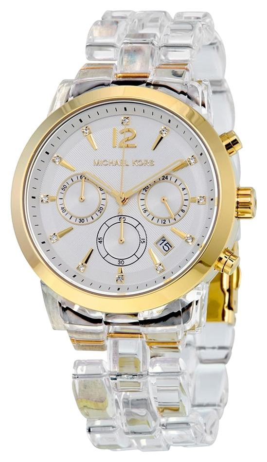 designers like michael kors o9ed  Michael Kors Gold Stainless Steel Case Clear White Acetate Bracelet Designer  casual Ladies Watch