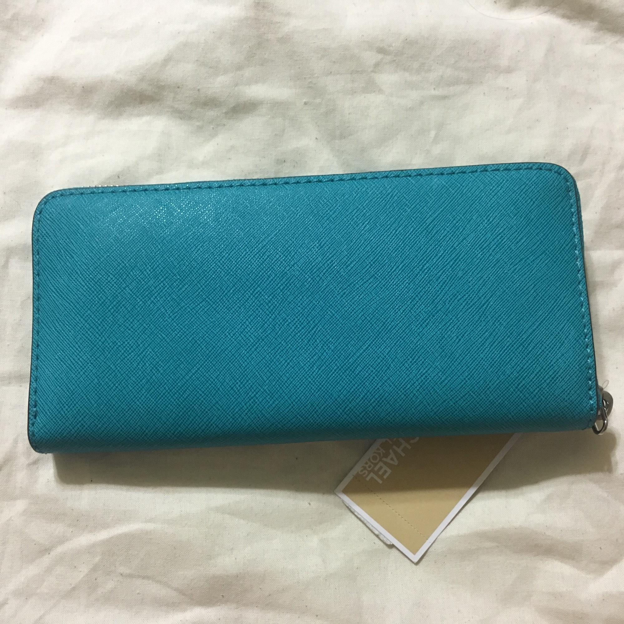 cca83f69bc88 12345678 uk michael kors jet set travel zip continental tile blue teal  saffiano leather wallet.