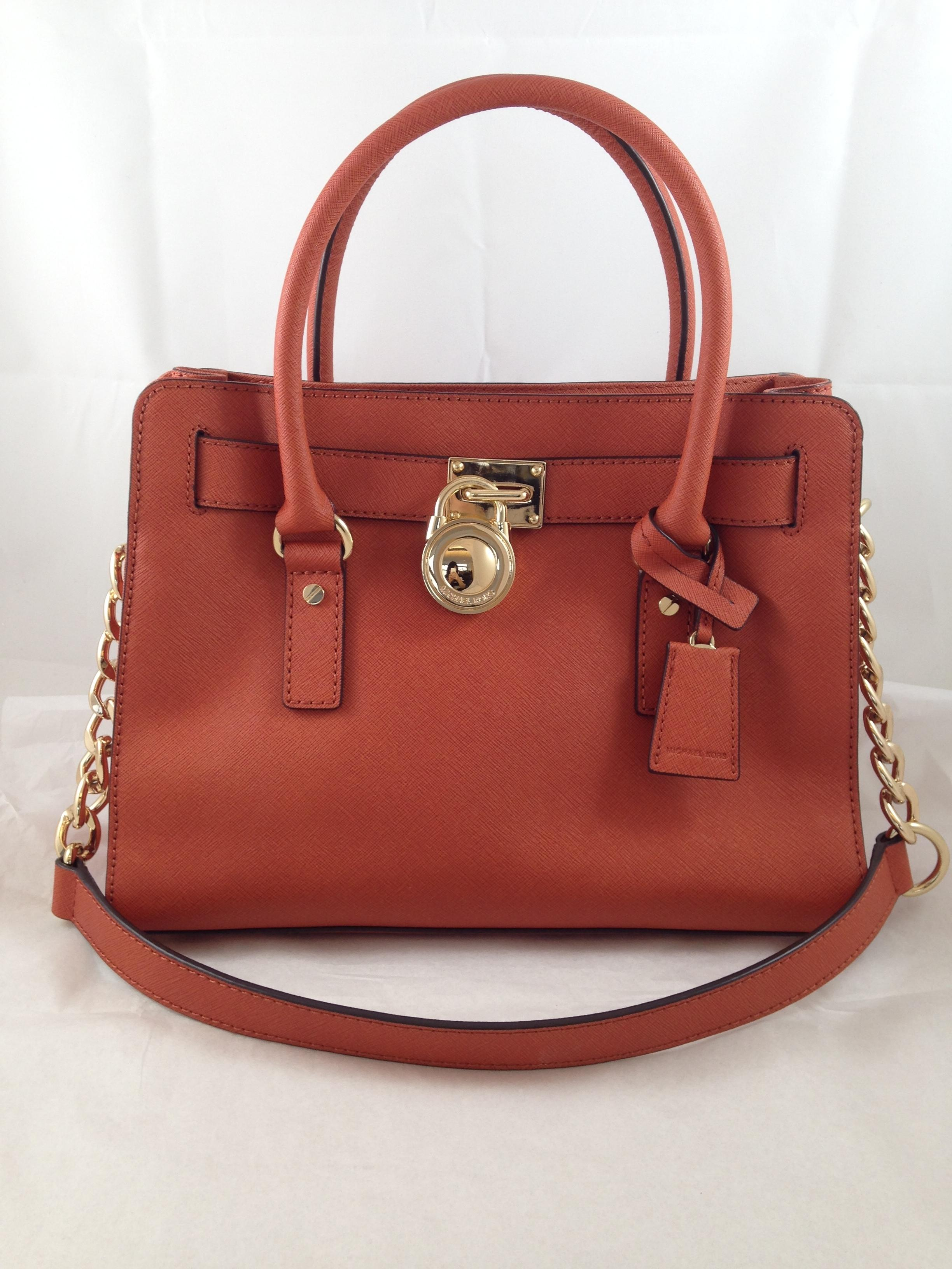 d658947db883 ... new style michael kors hamilton brown leather purse east west mk satchel  in honey redish rust