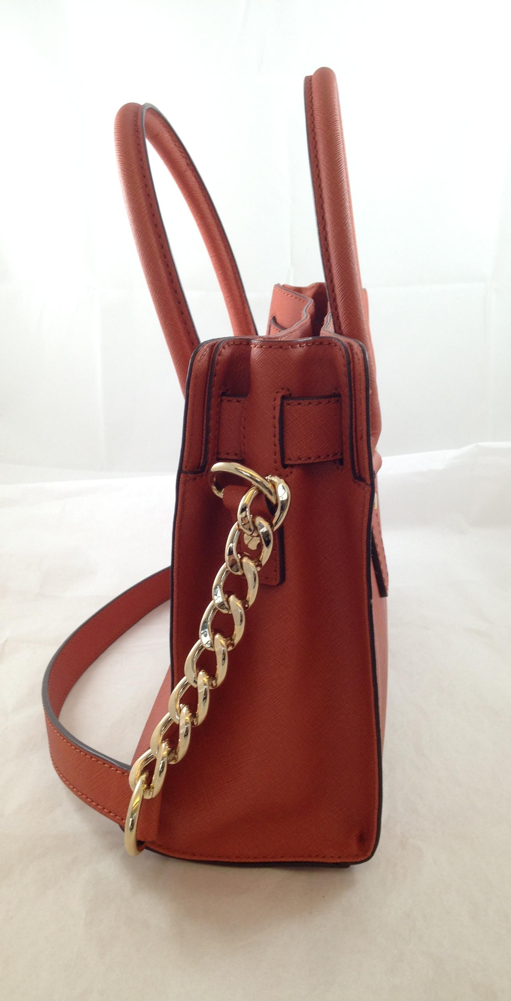 21c1de239533 ... sale michael kors hamilton east west honey redish rust leather satchel  tradesy 52b8c fd610