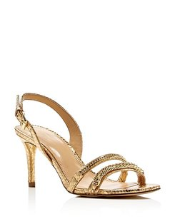 Michael Kors Metallic Hardware Slingback Embossed Gold Metallic Sandals