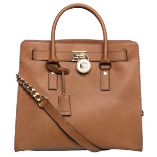 Michael Kors Hardware Leather Satchel in HAMILTON SAFFIANO LARGE NORTH SOUTH SATCHEL GOLD COGNAC