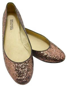 Michael Kors Holiday Sparkle Leather Bronze Flats