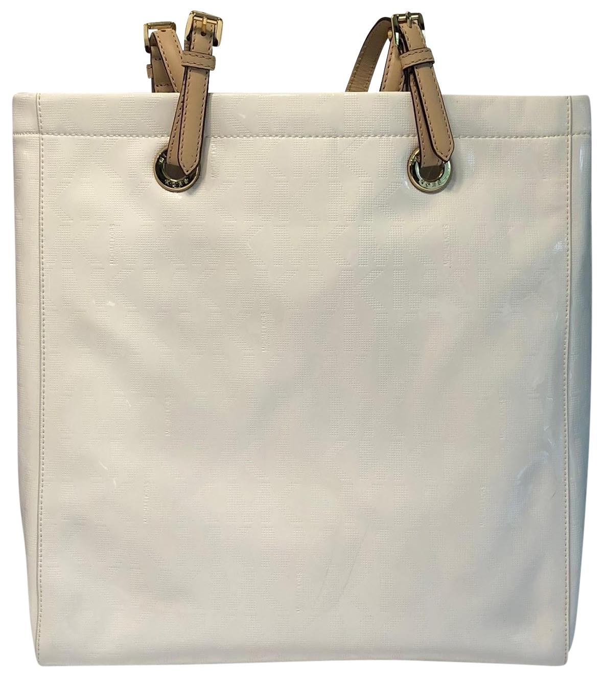 bb94c9ed102d ... free shipping michael kors jet set north south tote mirror metallic  satchel in white signature mk