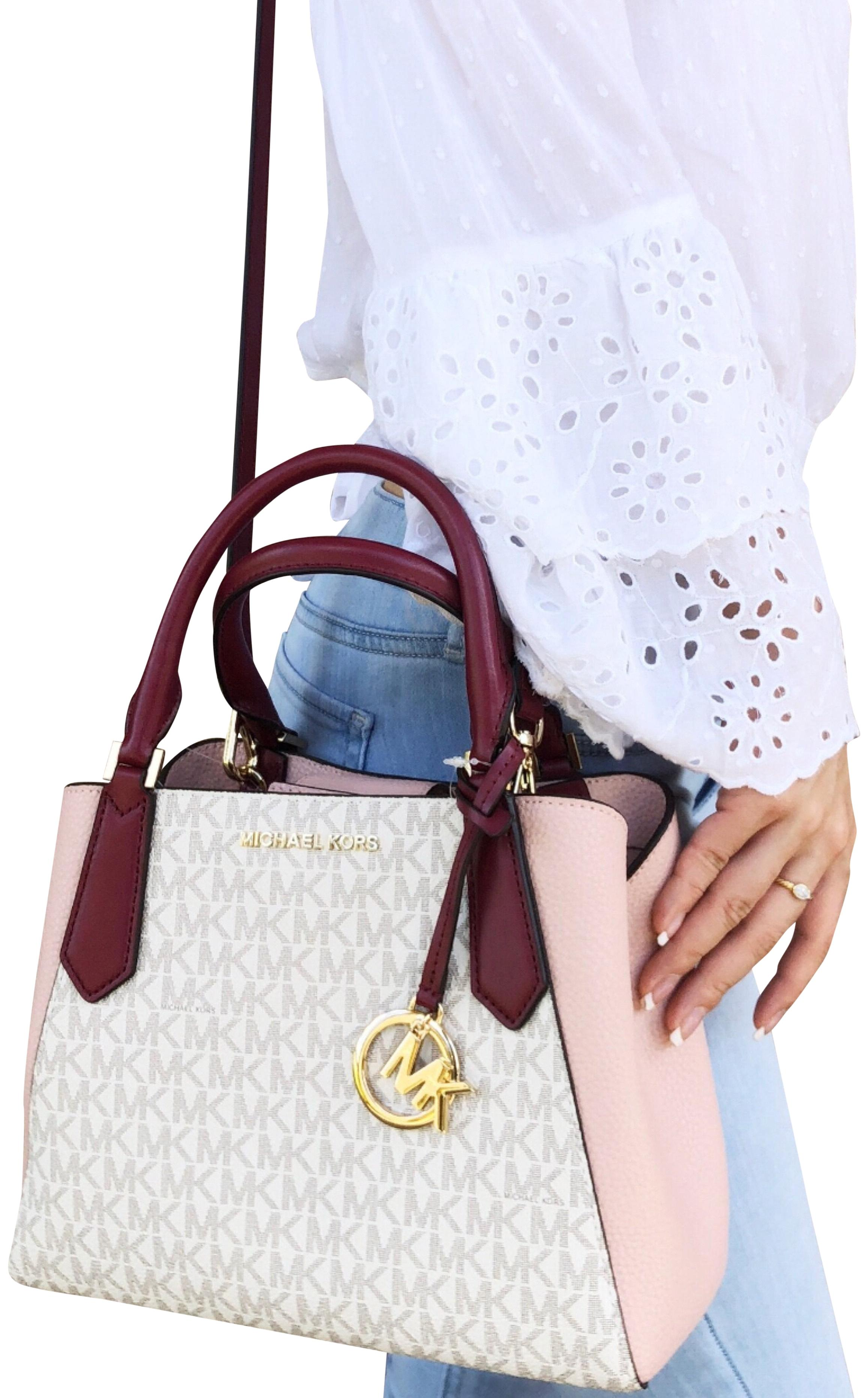 bf0f680a935 ... discount code for michael kors kimberly mk signature crossbody satchel  in mulberry pastel pink b5a77 e5cd4