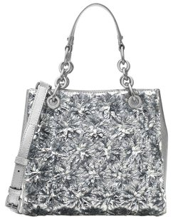 Michael Kors Leather Flora Sequin New With Tags Satchel in Silver