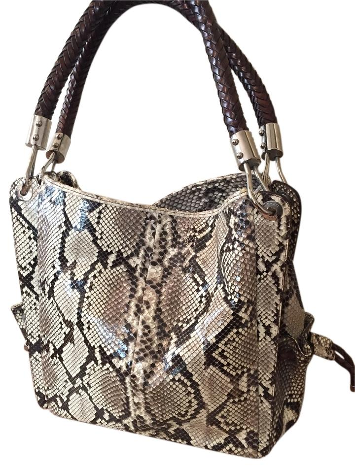 Michael Kors Leather Geniune Silver Hardware Tote in Grey Python