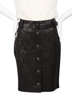Michael Kors Leather Mini Skirt Black