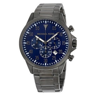 Michael Kors Michael Kors Gage Chronograph Blue Dial Gunmetal Stainless Steelmens Watch