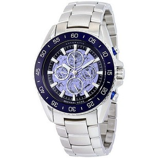 Michael Kors Michael Kors Jetmaster Blue Skeleton Dial Stainless Steel Mens Watch