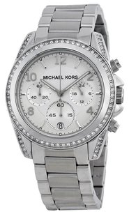Michael Kors Michael Kors Ladies Chronograph White Crystal Stainless Steel Watch