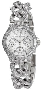 Michael Kors MK3309 SILVER MINI CAMILLE PAVE CRYSTAL GLITZ CHAIN WATCH