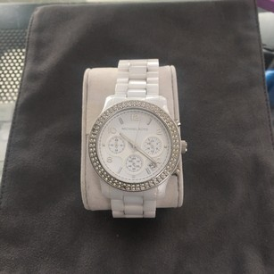 Michael Kors Michael Kors White Runway 36mm Double Crystal Bezel Ceramic Watch