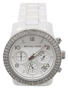 Michael Kors Michael Kors Womens Chronograph White Ceramic Crystals Watch Mk5188 Case Cracked