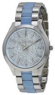 Michael Kors MK4297 SLIM RUNWAY PAVE DIAL BLUE ACETATE WOMENS WATCH