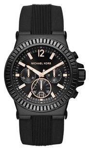 Michael Kors MK8427 MICHAEL KORS MEN'S BLACK SILICONE BLACK DIAL CHRONO DATE WATCH