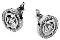 Michael Kors MKJ4084 Heritage Fulton Logo Clip On Earrings Silver Tone