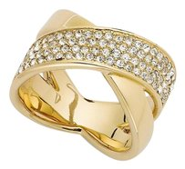 Michael Kors New Gold Tone Pave Criss-Cross Band X Ring