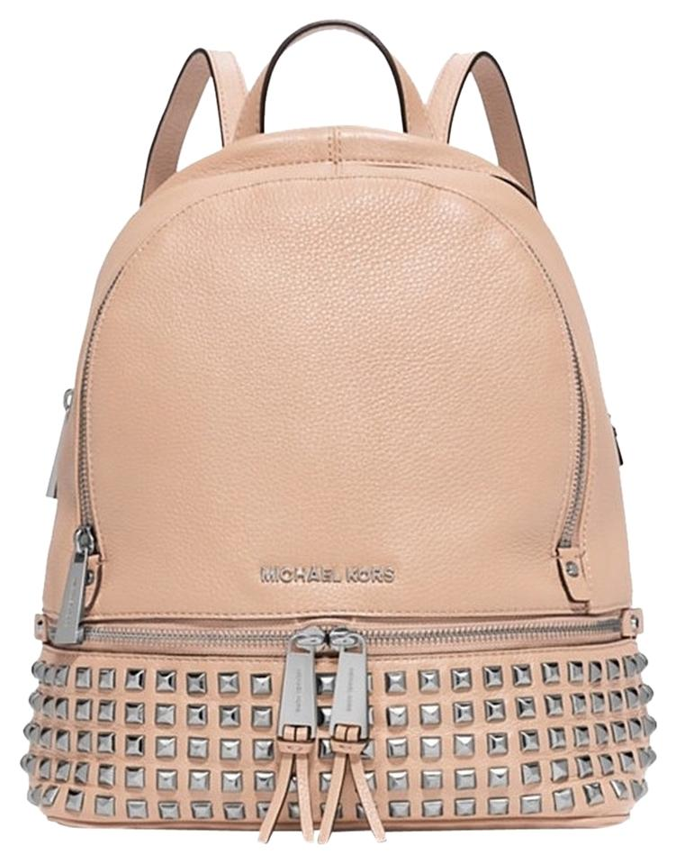 be10cc6cf9ff switzerland michael michael kors small rhea zip studded backpack in pink  lyst 23c94 d5a7a; reduced michael kors new leather pink beige backpack  54fe6 7d991