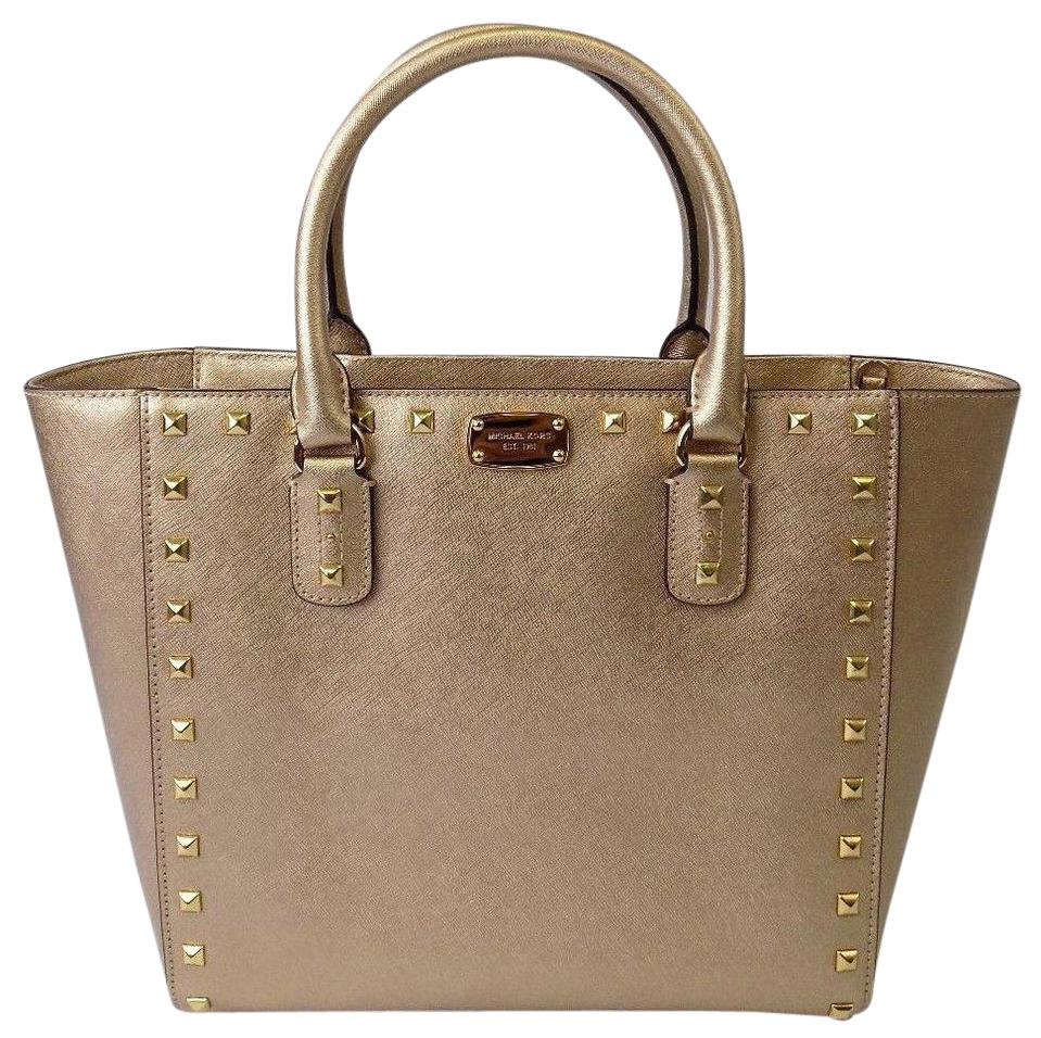 4a016a146a9c ... shopping michael kors new studded lrg purse pale msrp gold saffiano leather  tote tradesy 070a9 bfe1b
