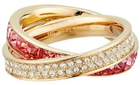 Michael Kors Nwt Michael Kors Gold Tone Pave CZ Pink Crossover Eternity Ring Size 8