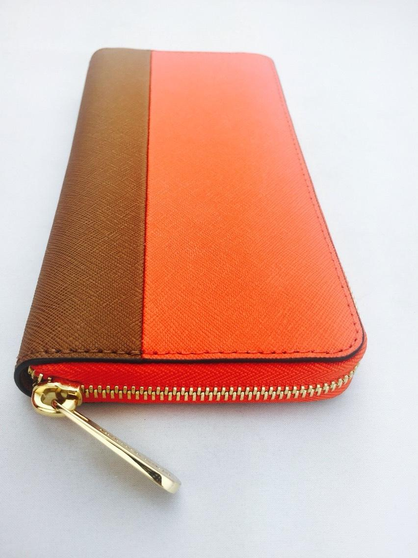 9eae13f4700a germany michael kors orange and brown continental zip around new wallet  tradesy 392e5 95c37