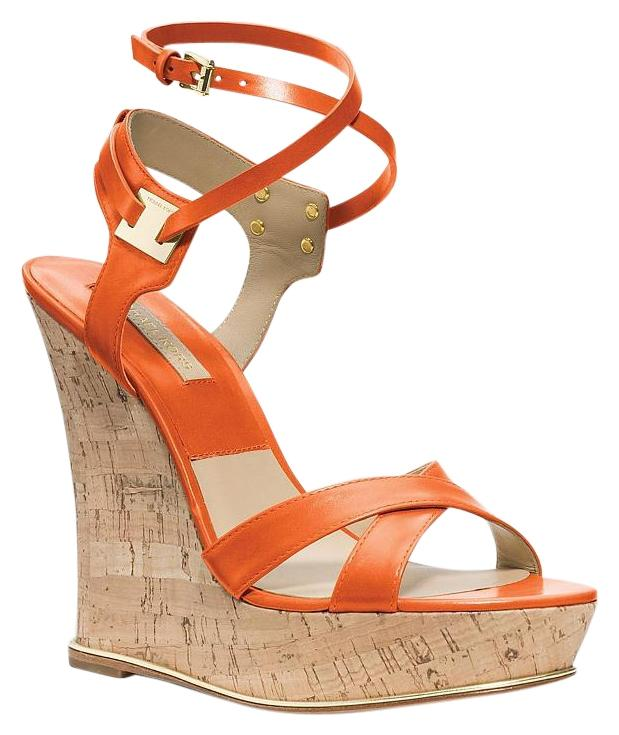 Michael Kors Platform Cork Sandals Strappy Summer Orange Wedges