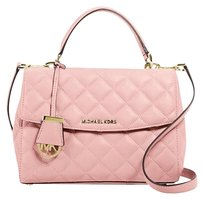 Michael Kors Quilted Leather Ava New With Tags Pink Gold Satchel in Blossom